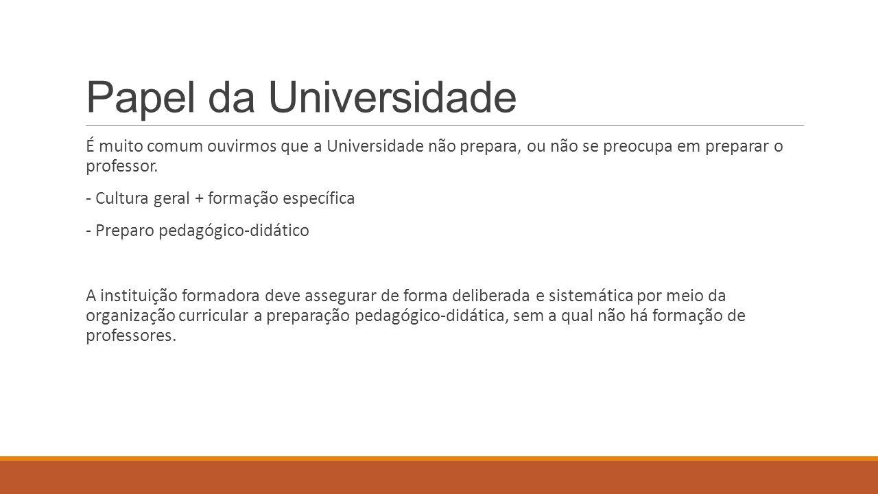 Papel da Universidade É muito comum ouvirmos que a Universidade não prepara, ou não se preocupa em preparar o professor. - Cultura geral + formação es