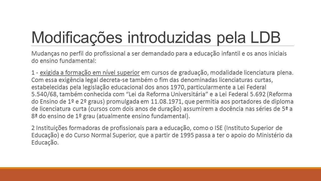 Modificações introduzidas pela LDB Mudanças no perfil do profissional a ser demandado para a educação infantil e os anos iniciais do ensino fundamenta