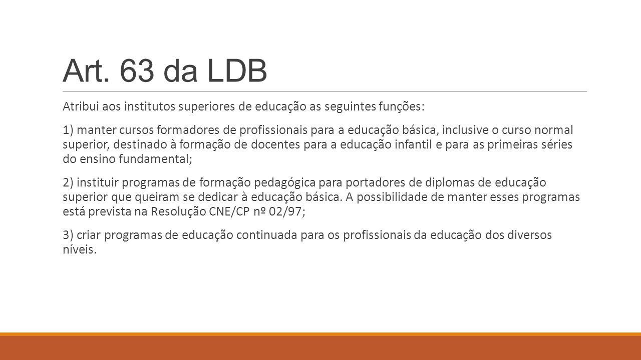 Art. 63 da LDB Atribui aos institutos superiores de educação as seguintes funções: 1) manter cursos formadores de profissionais para a educação básica