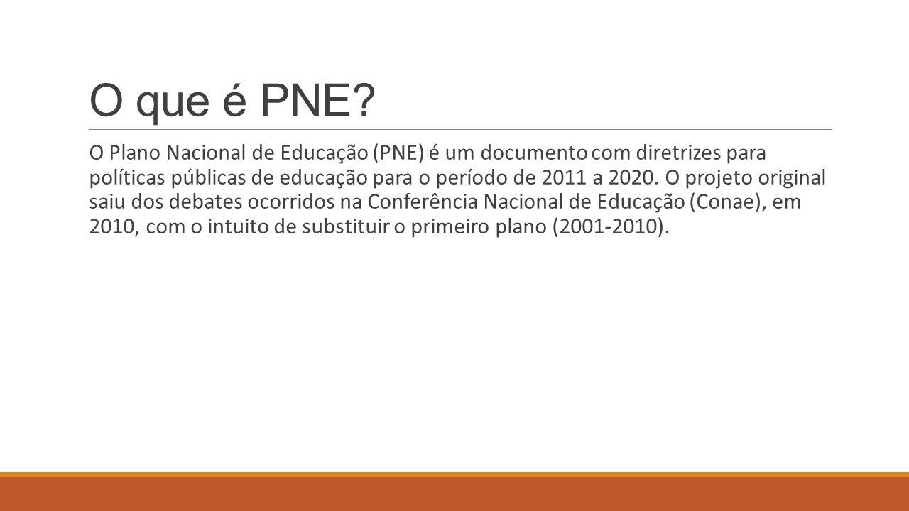 O que é PNE? O Plano Nacional de Educação (PNE) é um documento com diretrizes para políticas públicas de educação para o período de 2011 a 2020. O pro