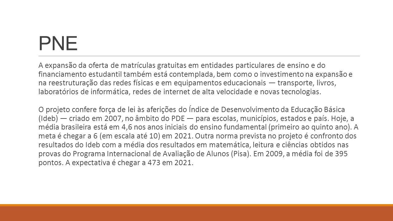 PNE A expansão da oferta de matrículas gratuitas em entidades particulares de ensino e do financiamento estudantil também está contemplada, bem como o