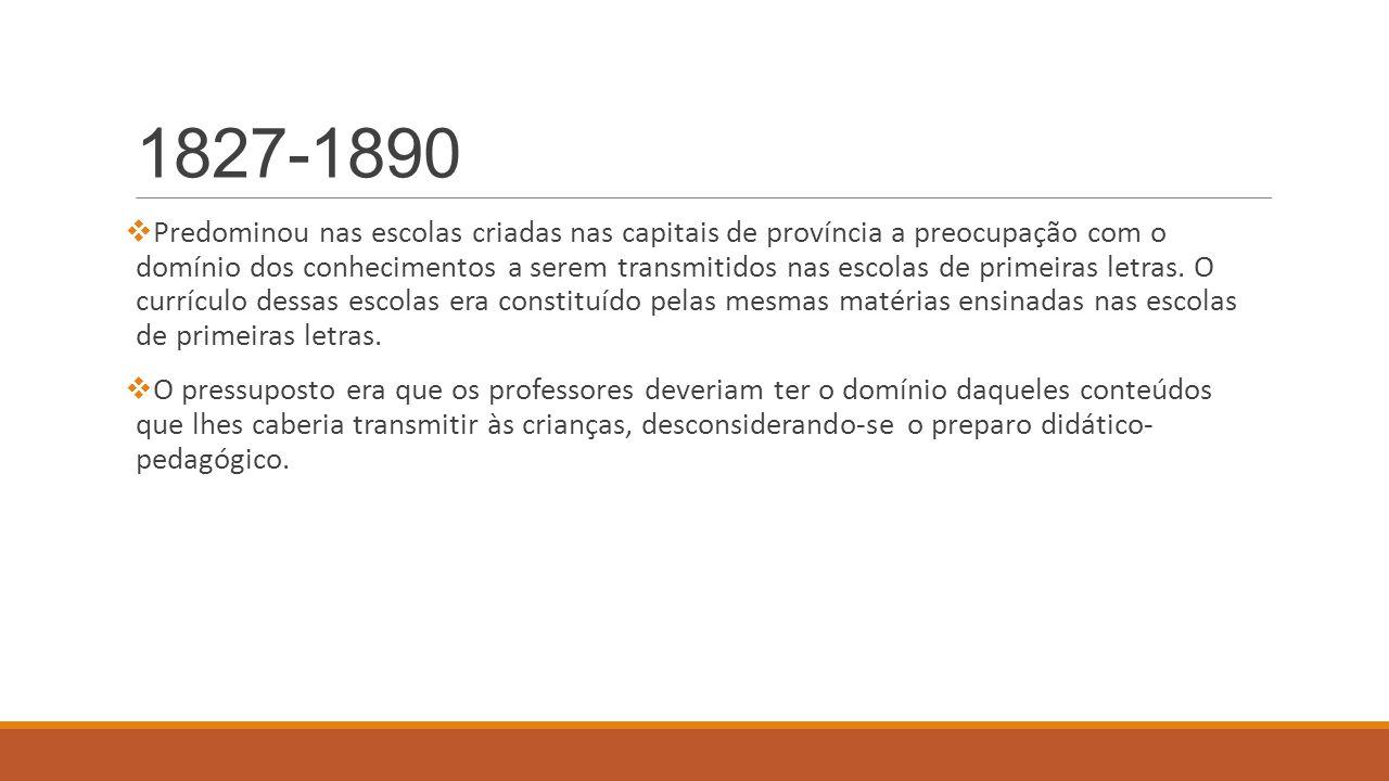 1890-1932 Organização do funcionamento das Escolas Normais (1890) Reforma foi marcada por: 1 – enriquecimento de conteúdos 2 - exercícios práticos Estas escolas pretendiam ser escolas de cultura geral e de cultura profissional.