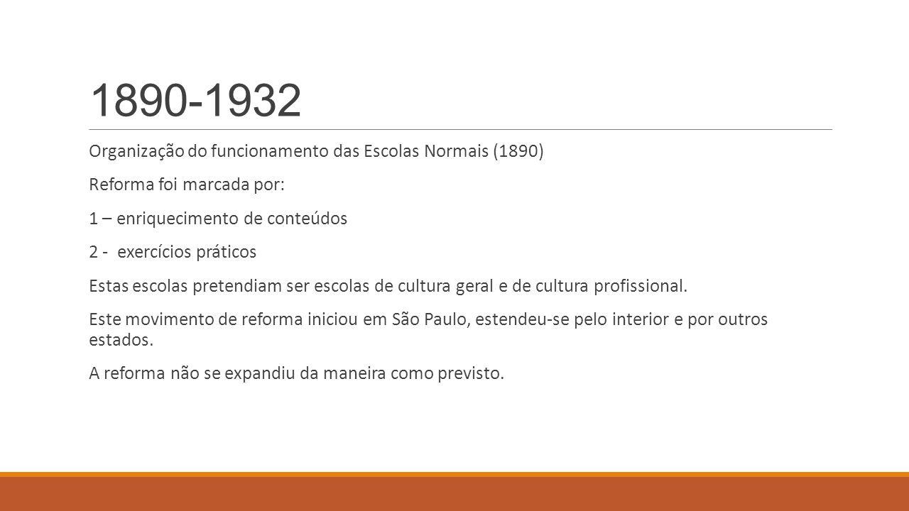 1890-1932 Organização do funcionamento das Escolas Normais (1890) Reforma foi marcada por: 1 – enriquecimento de conteúdos 2 - exercícios práticos Est