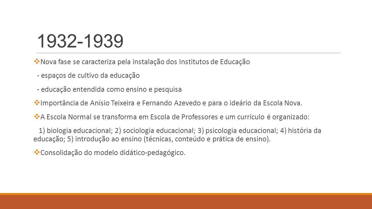 1932-1939  Nova fase se caracteriza pela instalação dos Institutos de Educação - espaços de cultivo da educação - educação entendida como ensino e pe