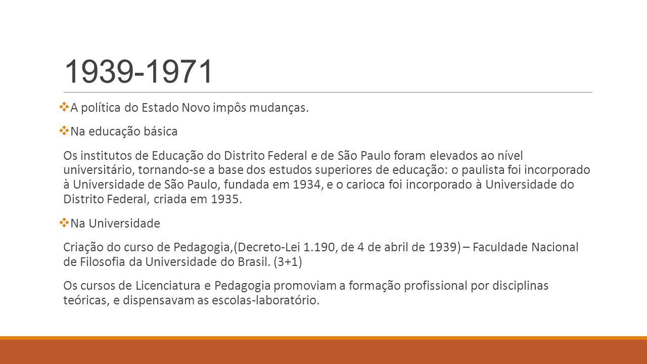 1939-1971  A política do Estado Novo impôs mudanças.  Na educação básica Os institutos de Educação do Distrito Federal e de São Paulo foram elevados