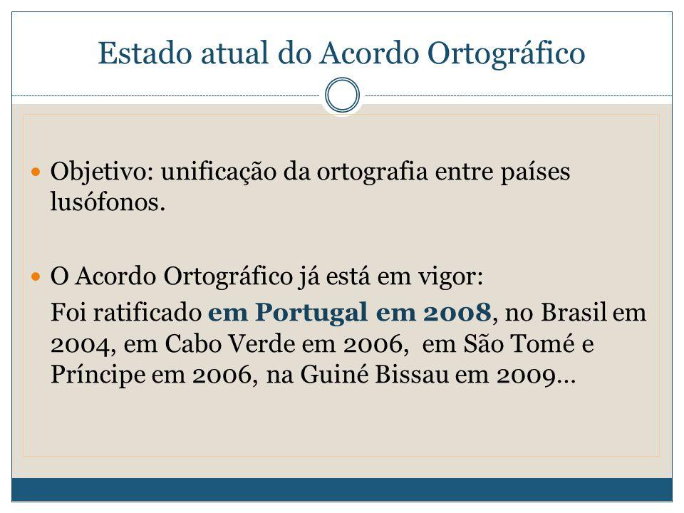 Estado atual do Acordo Ortográfico Objetivo: unificação da ortografia entre países lusófonos.