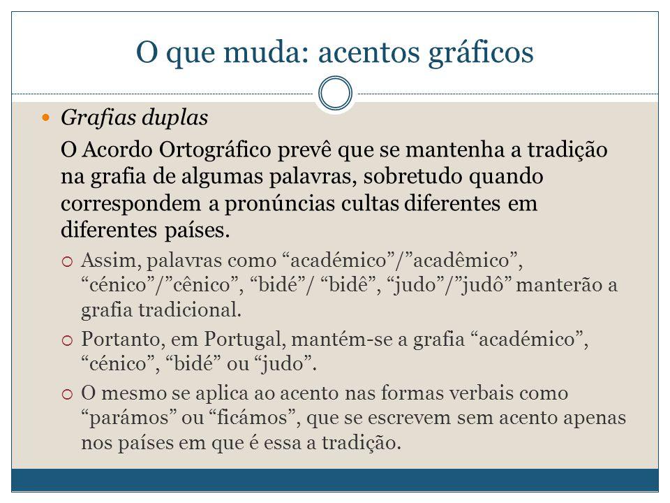 O que muda: acentos gráficos Grafias duplas O Acordo Ortográfico prevê que se mantenha a tradição na grafia de algumas palavras, sobretudo quando correspondem a pronúncias cultas diferentes em diferentes países.