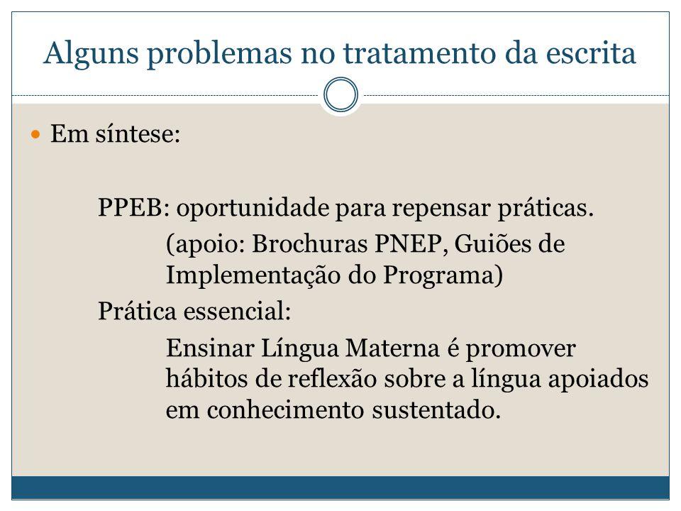 Alguns problemas no tratamento da escrita Em síntese: PPEB: oportunidade para repensar práticas.