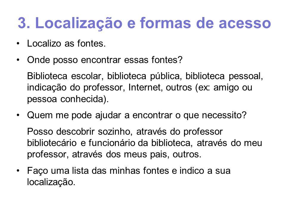 3. Localização e formas de acesso Localizo as fontes.