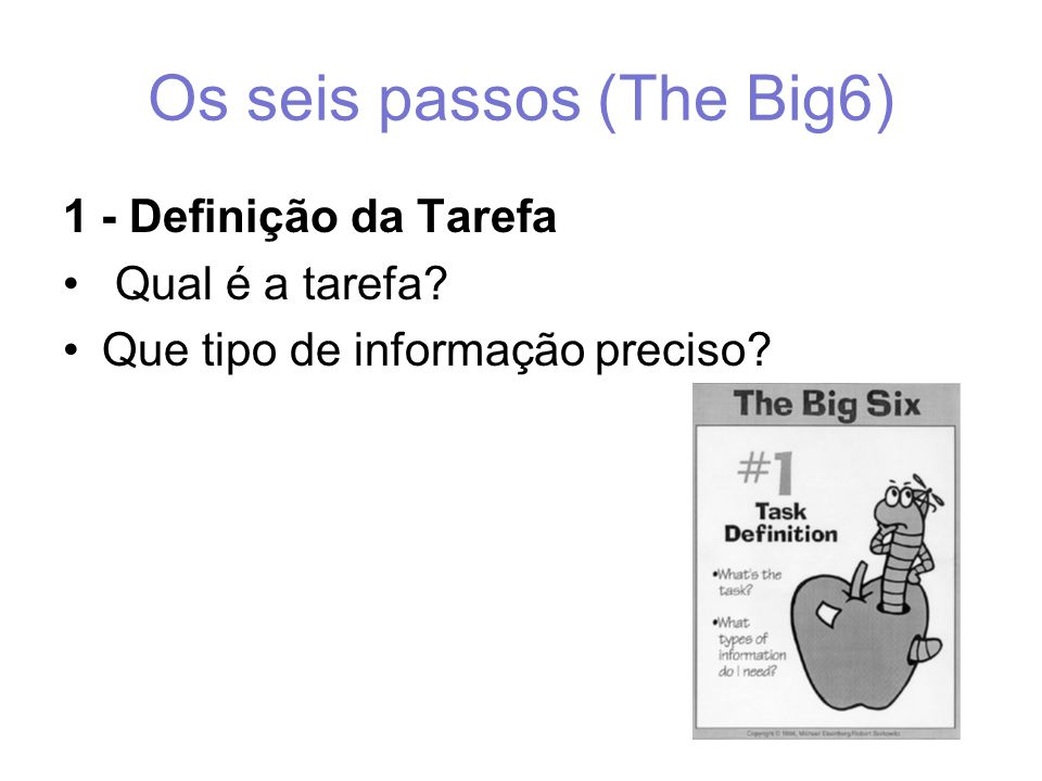 Os seis passos (The Big6) 1 - Definição da Tarefa Qual é a tarefa Que tipo de informação preciso