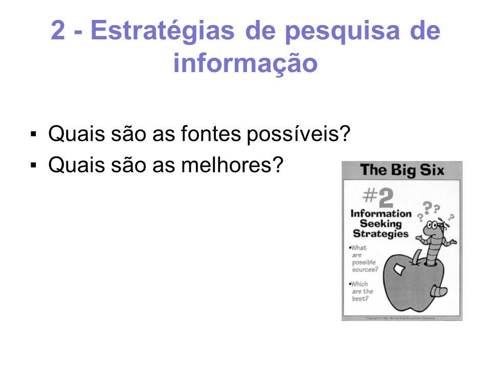 2 - Estratégias de pesquisa de informação ▪Quais são as fontes possíveis ▪Quais são as melhores