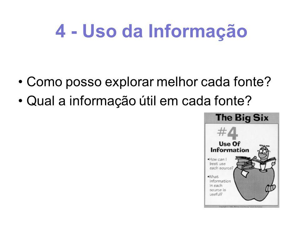 4 - Uso da Informação Como posso explorar melhor cada fonte Qual a informação útil em cada fonte