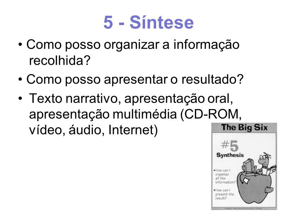 5 - Síntese Como posso organizar a informação recolhida.