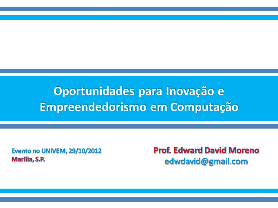 Inovação & Empreendedorismo 32 Alta INVENTOR EMPREENDEDOR A GRANDE MAORIA GERENTEADMINISTRADOR Criatividade e Inovação Baixa Alta Habilidades gerenciais e know-how em negócios