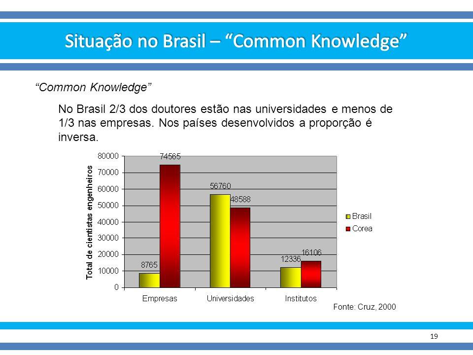 """19 Fonte: Cruz, 2000 """"Common Knowledge"""" No Brasil 2/3 dos doutores estão nas universidades e menos de 1/3 nas empresas. Nos países desenvolvidos a pro"""