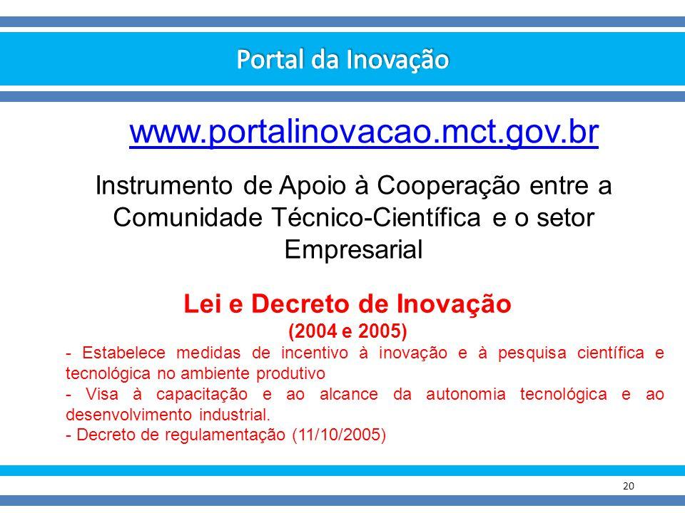 20 Instrumento de Apoio à Cooperação entre a Comunidade Técnico-Científica e o setor Empresarial www.portalinovacao.mct.gov.br Lei e Decreto de Inovaç
