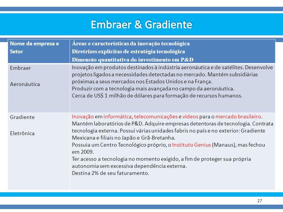 27 Nome da empresa e Setor Áreas e características da inovação tecnológica Diretrizes explícitas de estratégia tecnológica Dimensão quantitativa do in