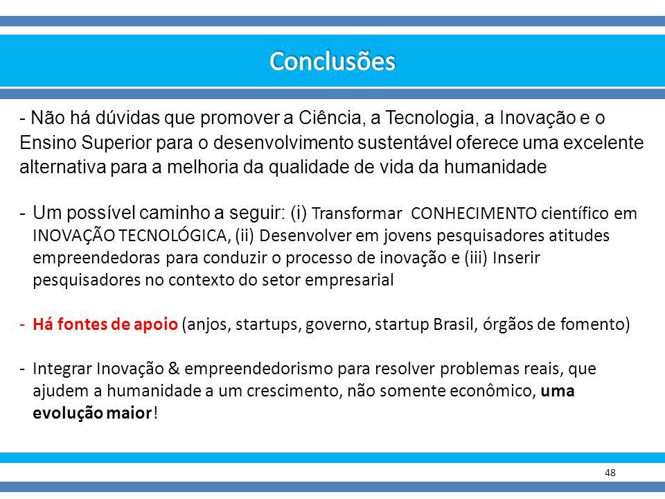 48 - Não há dúvidas que promover a Ciência, a Tecnologia, a Inovação e o Ensino Superior para o desenvolvimento sustentável oferece uma excelente alte