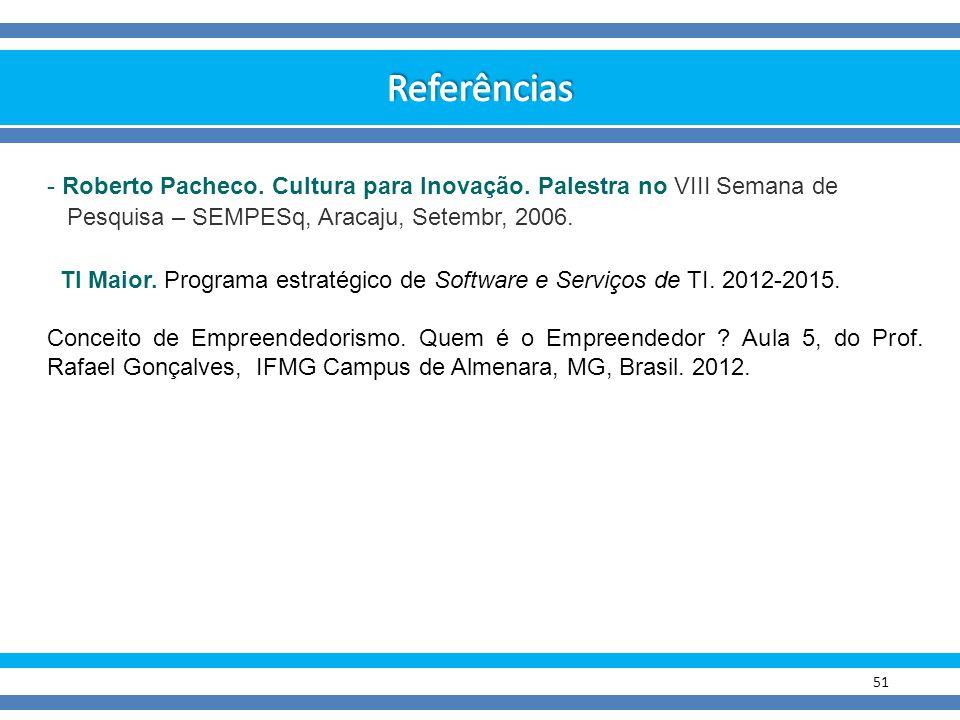 51 - Roberto Pacheco. Cultura para Inovação. Palestra no VIII Semana de Pesquisa – SEMPESq, Aracaju, Setembr, 2006. TI Maior. Programa estratégico de