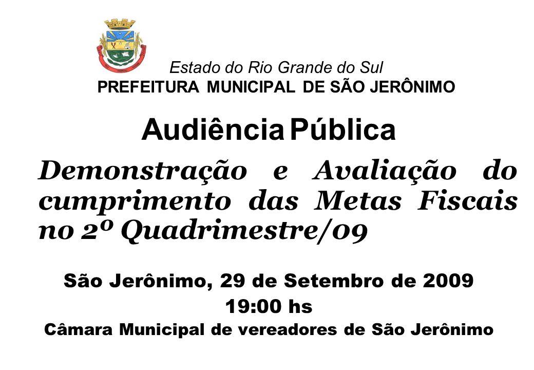 Estado do Rio Grande do Sul PREFEITURA MUNICIPAL DE SÃO JERÔNIMO Audiência Pública Demonstração e Avaliação do cumprimento das Metas Fiscais no 2º Qua