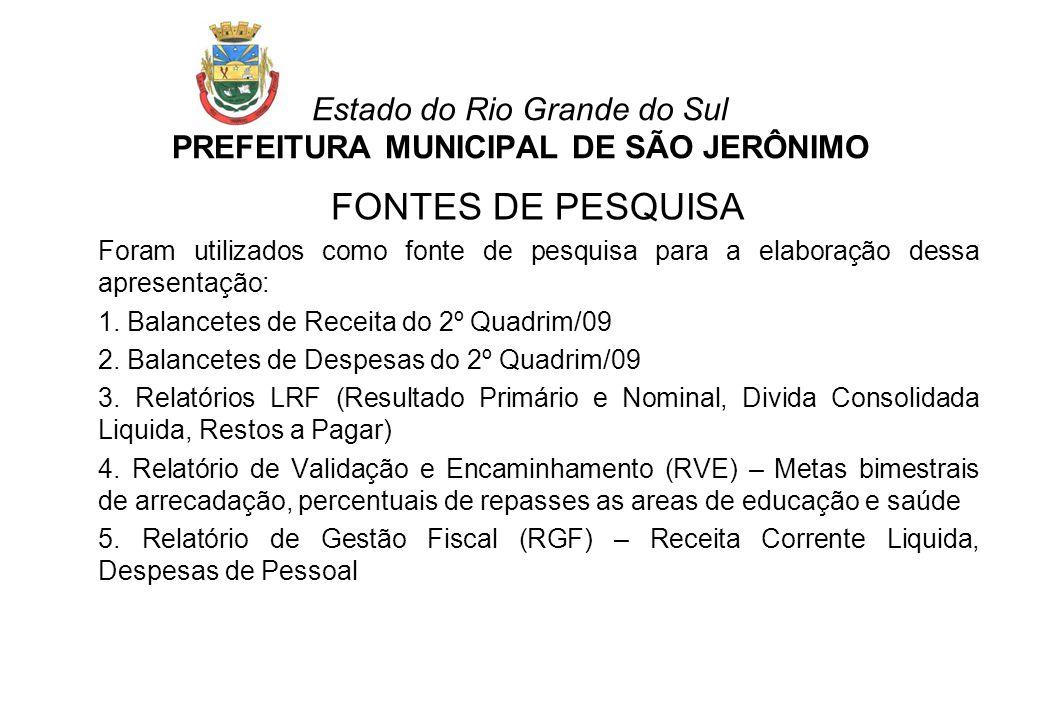 Estado do Rio Grande do Sul PREFEITURA MUNICIPAL DE SÃO JERÔNIMO FONTES DE PESQUISA Foram utilizados como fonte de pesquisa para a elaboração dessa ap