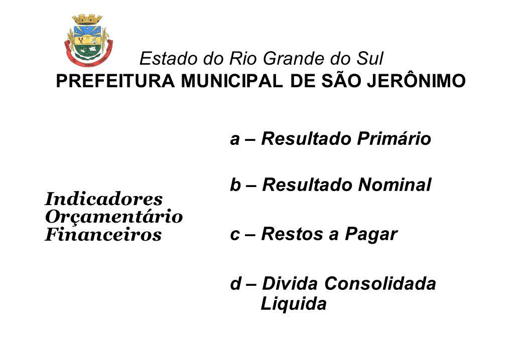 Estado do Rio Grande do Sul PREFEITURA MUNICIPAL DE SÃO JERÔNIMO Indicadores Orçamentário Financeiros a – Resultado Primário b – Resultado Nominal c –