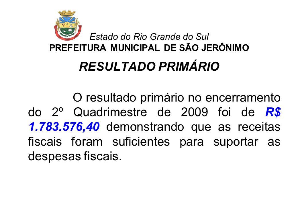 Estado do Rio Grande do Sul PREFEITURA MUNICIPAL DE SÃO JERÔNIMO RESULTADO PRIMÁRIO O resultado primário no encerramento do 2º Quadrimestre de 2009 fo