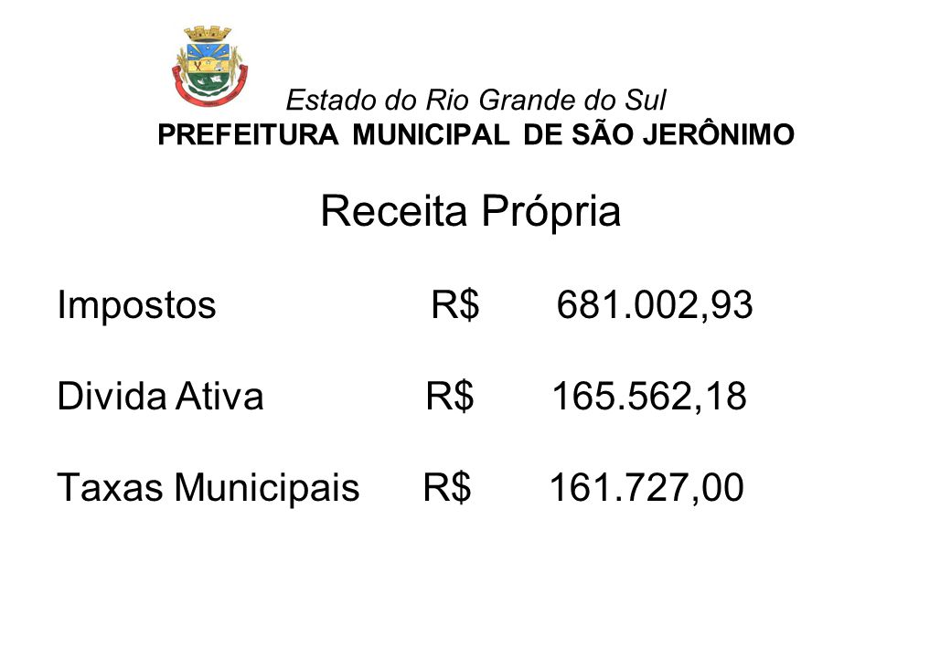 Receita Própria Impostos R$ 681.002,93 Divida Ativa R$ 165.562,18 Taxas Municipais R$ 161.727,00