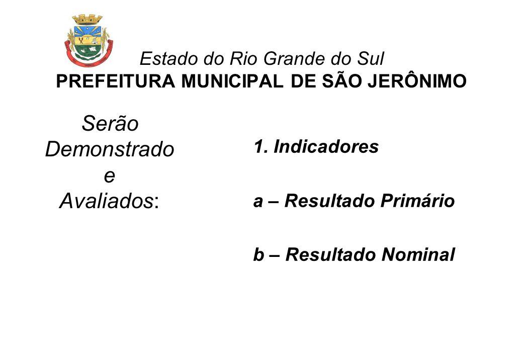 Estado do Rio Grande do Sul PREFEITURA MUNICIPAL DE SÃO JERÔNIMO Serão Demonstrado e Avaliados: 1.