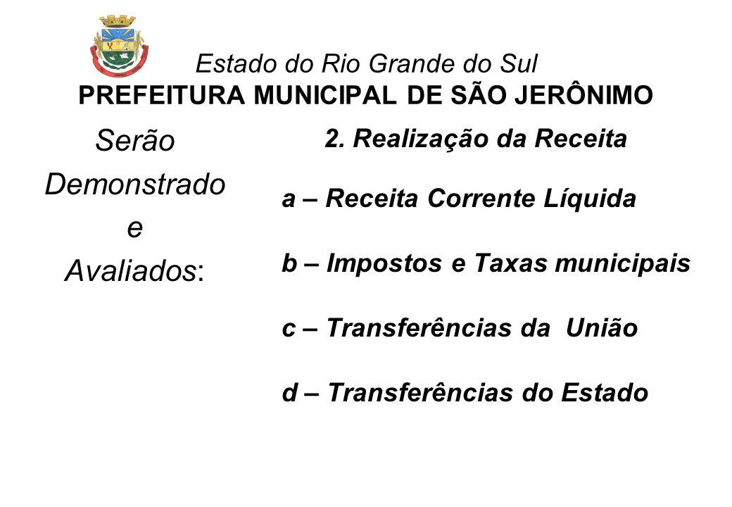 Estado do Rio Grande do Sul PREFEITURA MUNICIPAL DE SÃO JERÔNIMO Serão Demonstrado e Avaliados: 2.