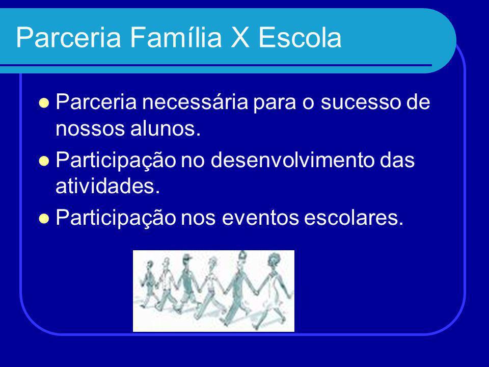 Parceria Família X Escola Parceria necessária para o sucesso de nossos alunos.