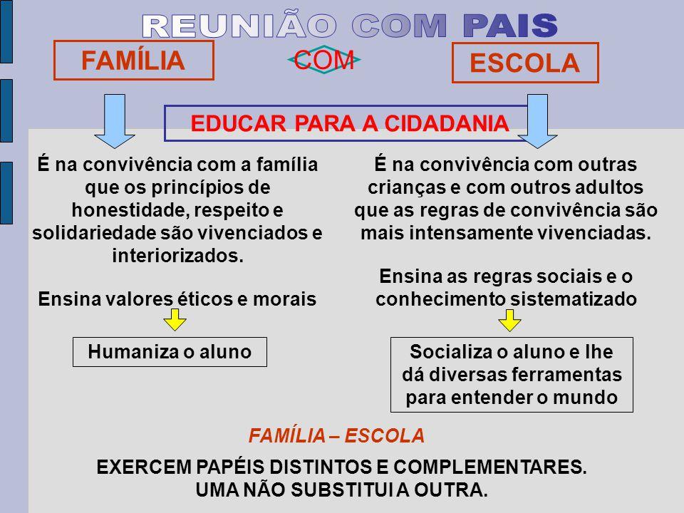 FAMÍLIA ESCOLA EDUCAR PARA A CIDADANIA COM É na convivência com a família que os princípios de honestidade, respeito e solidariedade são vivenciados e interiorizados.