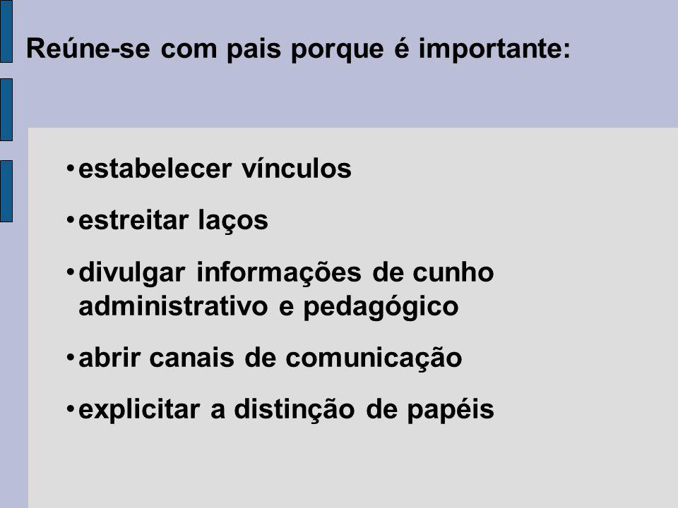 Reúne-se com pais porque é importante: estabelecer vínculos estreitar laços divulgar informações de cunho administrativo e pedagógico abrir canais de comunicação explicitar a distinção de papéis