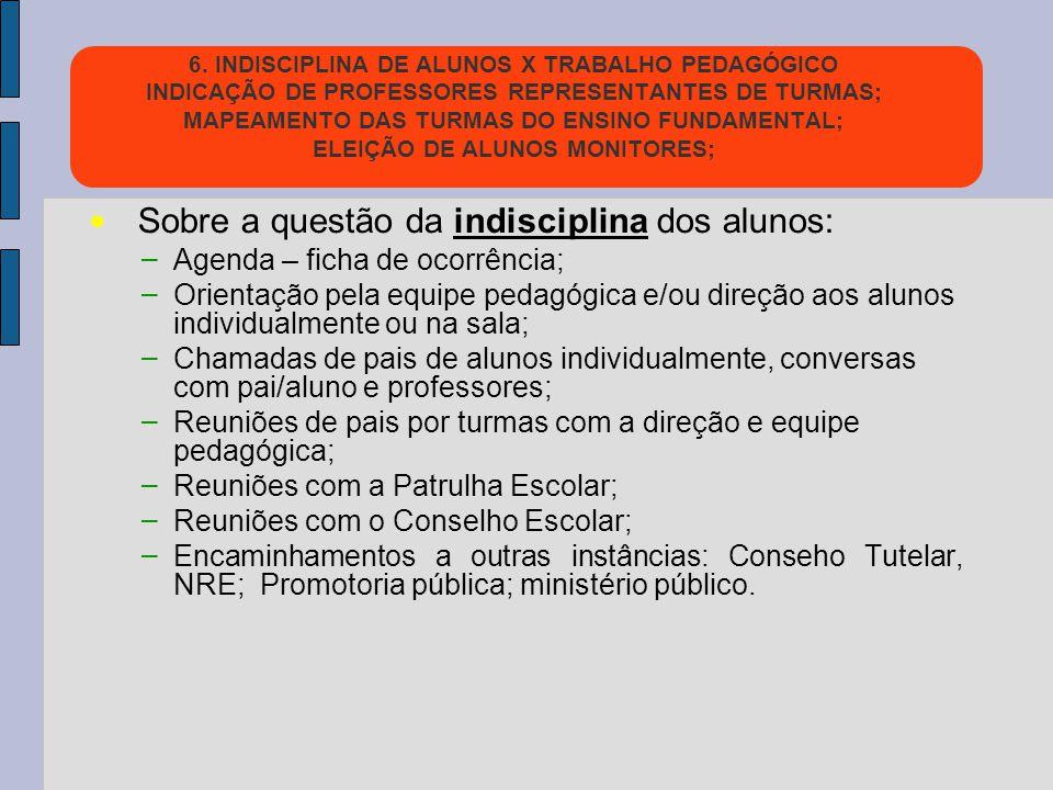 6. INDISCIPLINA DE ALUNOS X TRABALHO PEDAGÓGICO INDICAÇÃO DE PROFESSORES REPRESENTANTES DE TURMAS; MAPEAMENTO DAS TURMAS DO ENSINO FUNDAMENTAL; ELEIÇÃ