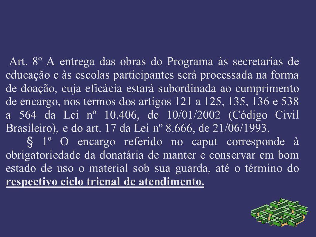 Art. 8º A entrega das obras do Programa às secretarias de educação e às escolas participantes será processada na forma de doação, cuja eficácia estará