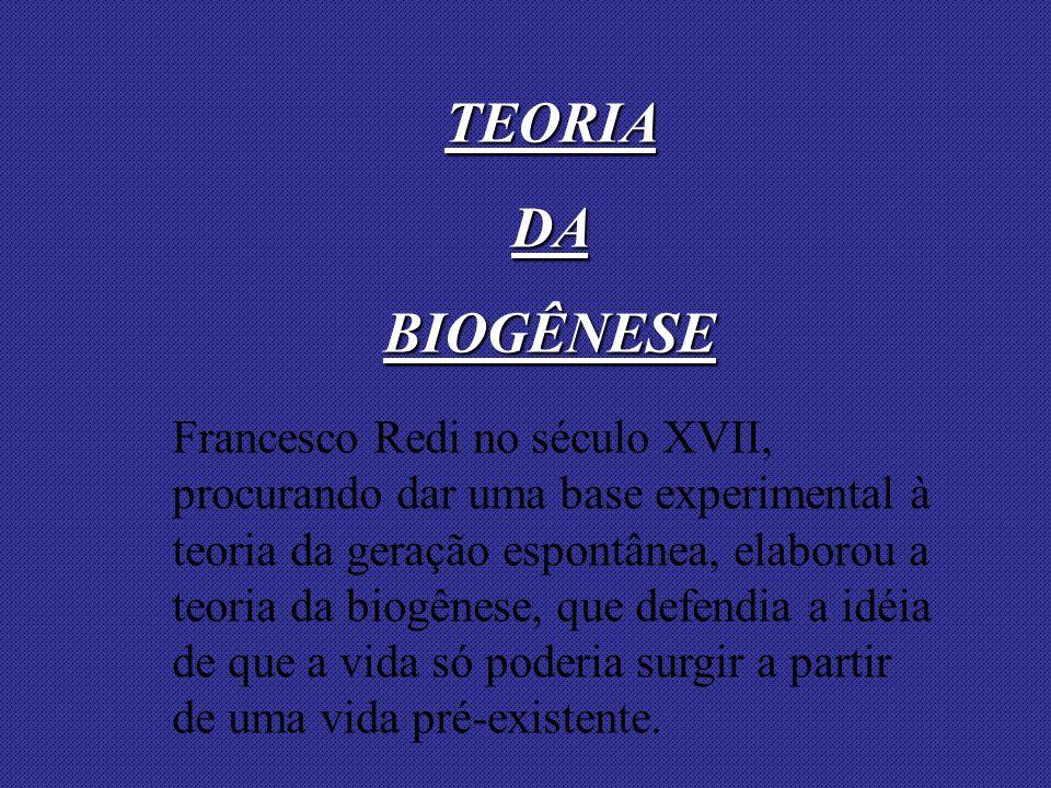Francesco Redi no século XVII, procurando dar uma base experimental à teoria da geração espontânea, elaborou a teoria da biogênese, que defendia a idéia de que a vida só poderia surgir a partir de uma vida pré-existente.