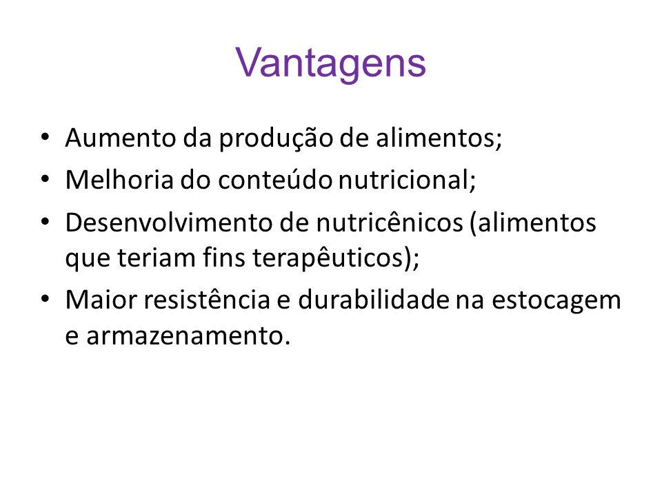 Vantagens Aumento da produção de alimentos; Melhoria do conteúdo nutricional; Desenvolvimento de nutricênicos (alimentos que teriam fins terapêuticos)