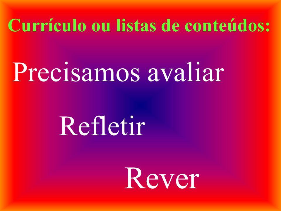 Currículo ou listas de conteúdos: Precisamos avaliar Refletir Rever