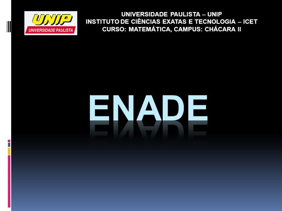 UNIVERSIDADE PAULISTA – UNIP INSTITUTO DE CIÊNCIAS EXATAS E TECNOLOGIA – ICET CURSO: MATEMÁTICA, CAMPUS: CHÁCARA II