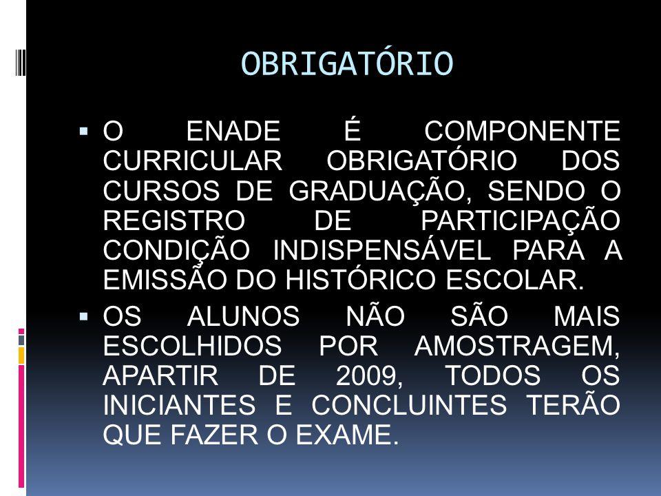 AVALIAÇÃO DO ENADE o PROVA: 10 QUESTÕES DE FORMAÇÃO GERAL 30 DE FORMAÇÃO ESPECÍFICA DA ÀREA o QUESTIONÁRIO SOCIO-ECONOMICO; o QUESTIONÁRIO DO COORDENADOR DO CURSO/HABILITAÇÃO; o QUESTIONÁRIO DOS ESTUDANTES SOBRE A PROVA.