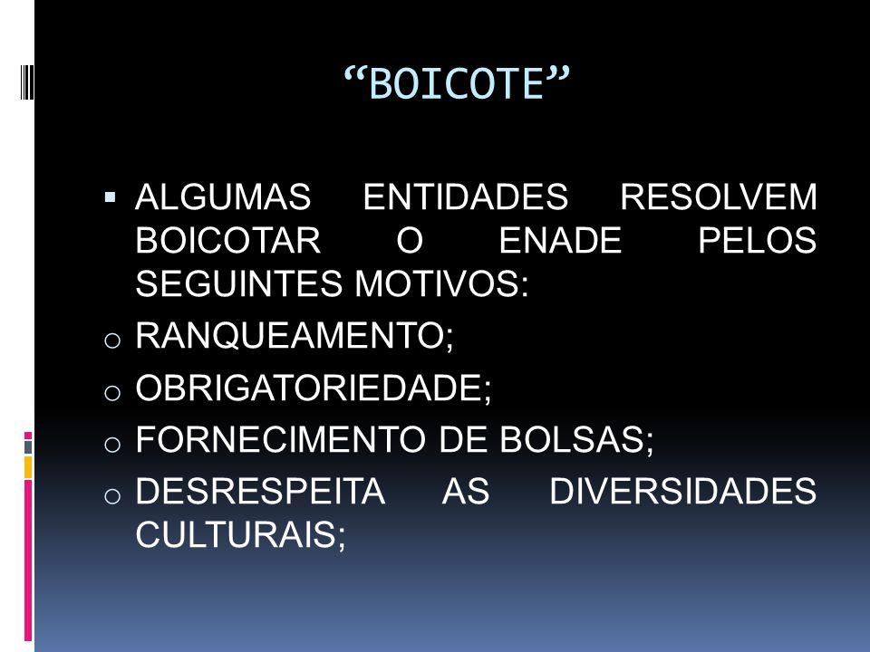 """""""BOICOTE""""  ALGUMAS ENTIDADES RESOLVEM BOICOTAR O ENADE PELOS SEGUINTES MOTIVOS: o RANQUEAMENTO; o OBRIGATORIEDADE; o FORNECIMENTO DE BOLSAS; o DESRES"""