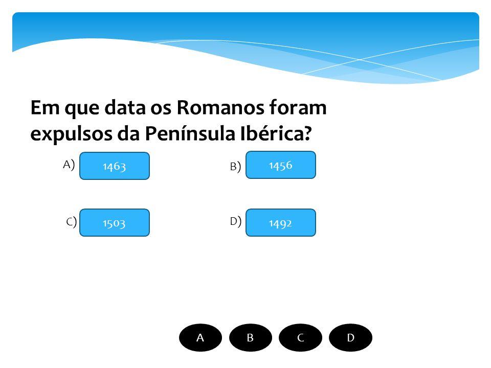 Quem foi o primeiro rei de Portugal? D. Afonso Henriques D. João II D. Sacho I D. Luís V A) B) C) D) ABCD
