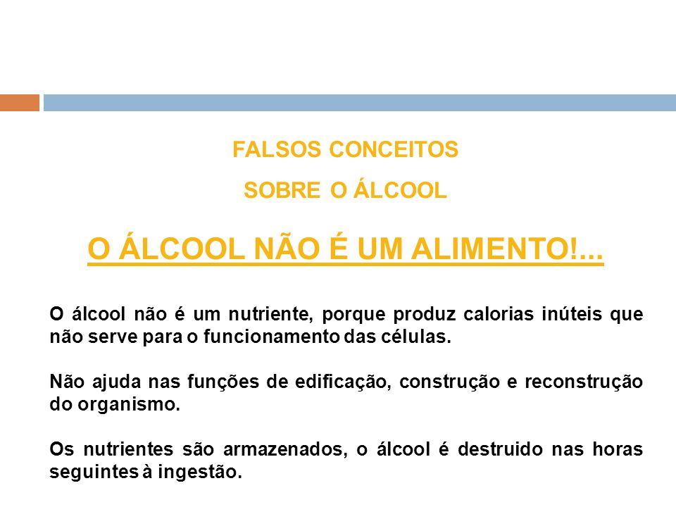 FALSOS CONCEITOS SOBRE O ÁLCOOL O ÁLCOOL NÃO É UM ALIMENTO!... O álcool não é um nutriente, porque produz calorias inúteis que não serve para o funcio