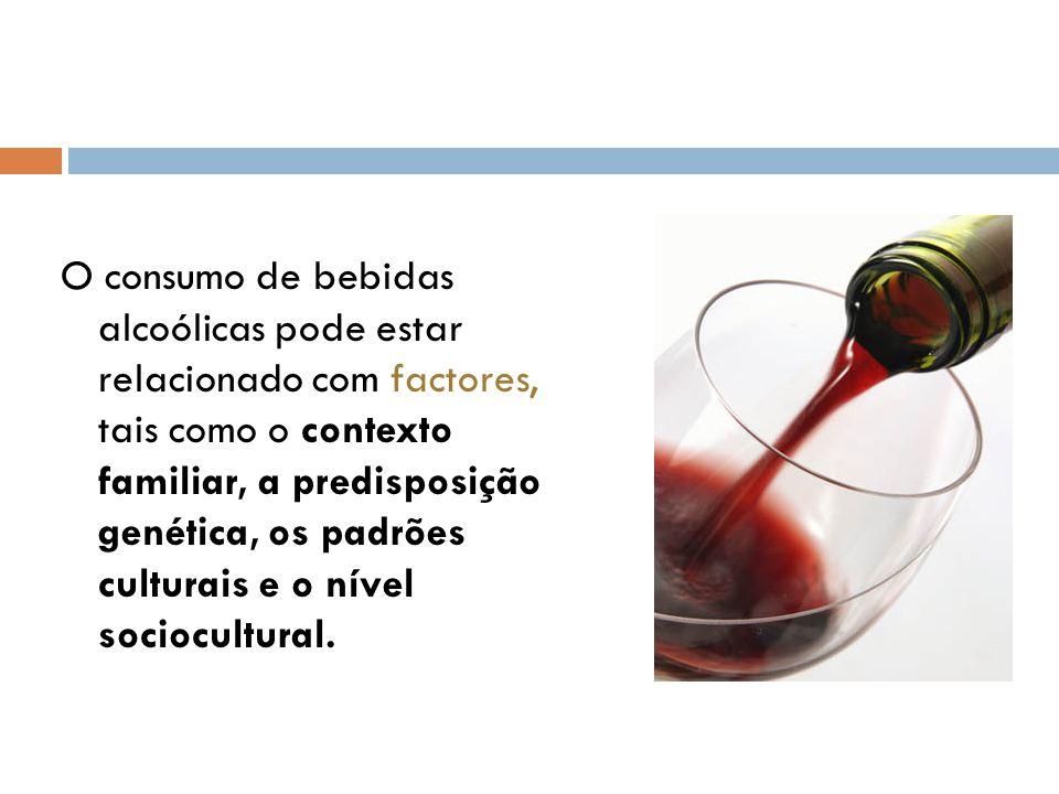 O consumo de bebidas alcoólicas pode estar relacionado com factores, tais como o contexto familiar, a predisposição genética, os padrões culturais e o