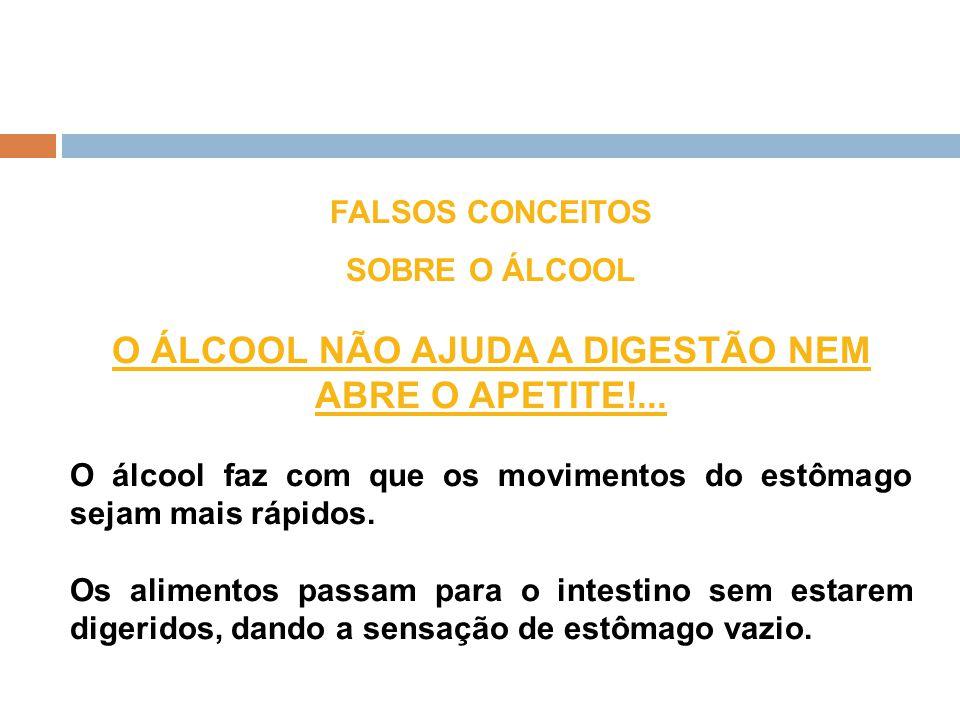 FALSOS CONCEITOS SOBRE O ÁLCOOL O ÁLCOOL NÃO AJUDA A DIGESTÃO NEM ABRE O APETITE!... O álcool faz com que os movimentos do estômago sejam mais rápidos