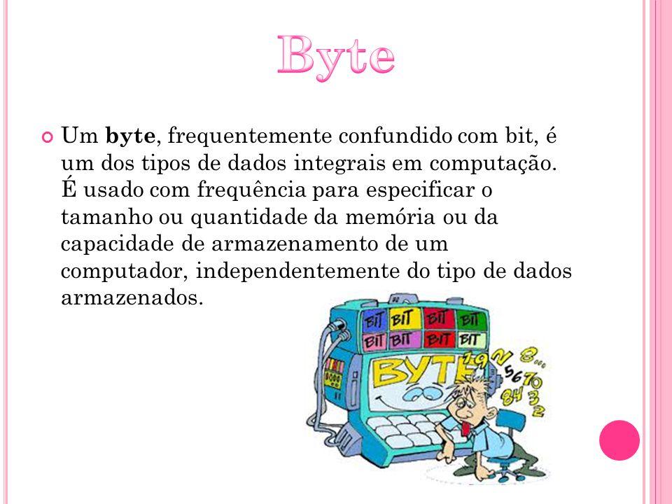 Um byte, frequentemente confundido com bit, é um dos tipos de dados integrais em computação. É usado com frequência para especificar o tamanho ou quan