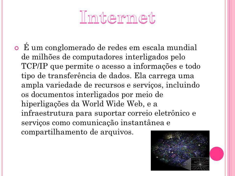 É um conglomerado de redes em escala mundial de milhões de computadores interligados pelo TCP/IP que permite o acesso a informações e todo tipo de tra