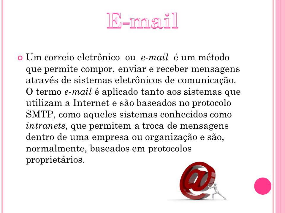 Um correio eletrônico ou e-mail é um método que permite compor, enviar e receber mensagens através de sistemas eletrônicos de comunicação. O termo e-m