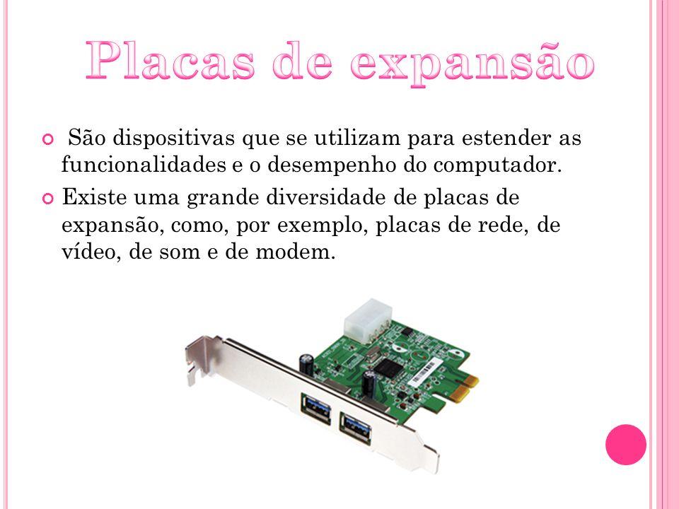 São dispositivas que se utilizam para estender as funcionalidades e o desempenho do computador. Existe uma grande diversidade de placas de expansão, c