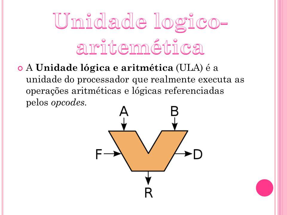 A Unidade lógica e aritmética (ULA) é a unidade do processador que realmente executa as operações aritméticas e lógicas referenciadas pelos opcodes.